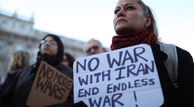 Protesters joined the Stop the War Coalition demo opposite Downing Street (Yui Mok/PA)
