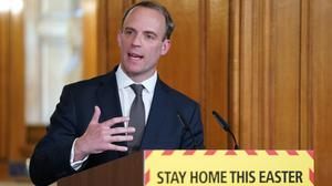 Foreign Secretary Dominic Raab during a media briefing in Downing Street on coronavirus (Pippa Fowles/Crown Copyright/10 Downing Street/PA)