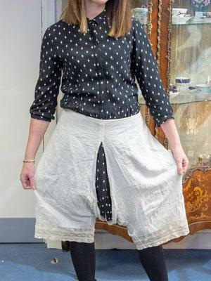 A pair of bloomers belonging to Queen Victoria, one of the items that was presented to royal warrant-holder Alexander Lamont Henderson (Hansons Auctioneers/PA)