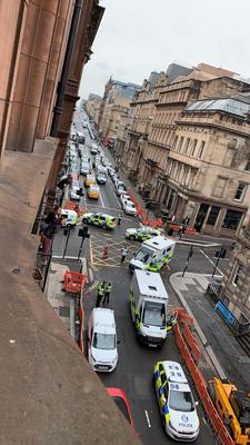 Emergency services presence in West George Street (@Milroy1717/PA)