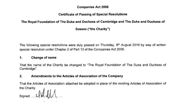 One of the documents published by Companies House confirming the name change (PA)