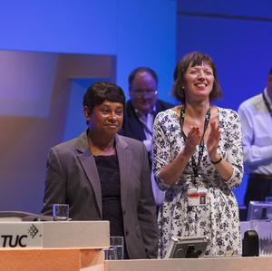 Baroness Lawrence receives a standing ovation after addressing the TUC Annual Conference in Bournemouth