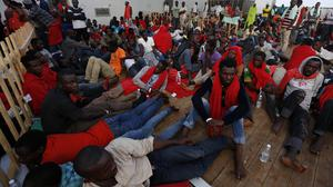 The Norwegian Siem Pilot ship carrying to Italy hundreds of migrants rescued in several operations in the Mediterranean (AP)