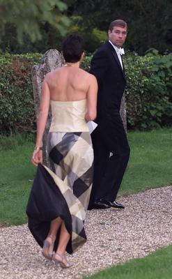 Ghislaine Maxwell with the Duke of York leaving the wedding of a former girlfriend of the Duke, Aurelia Cecil, in September 2000 (Chris Ison/PA)