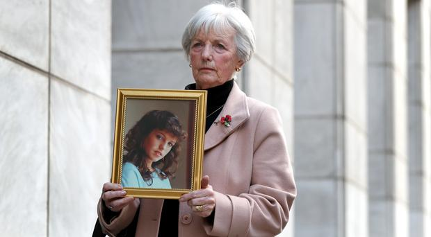 Marie McCourt, mother of Helen McCourt, after she gave evidence at a Parole board hearing (Gareth Fuller/PA)