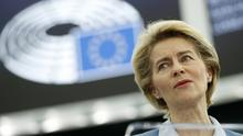European Commission president Ursula von der Leyen delivers her speech in Strasbourg (Jean-Francois Badias/AP)