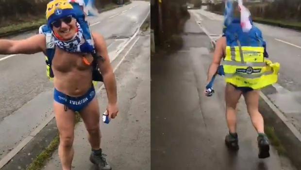 Storm Ciara has not stopped Speedo Mick on his charity walk (@speedomick/Twitter)