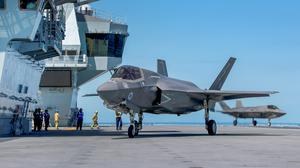 One of four operational F-35B Lightning Jets on HMS Queen Elizabeth for the first carrier sea training (Royal Navy/MoD/PA)