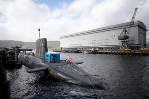The Vanguard-class nuclear deterrent submarine HMS Vengeance at HM Naval Base Clyde, Faslane (Jane Barlow/PA)
