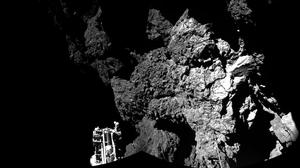 The Philae lander on the surface of the comet (European Space Agency)