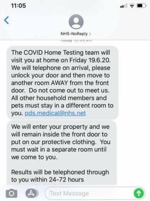 The scam messages tell recipients they will be visited at home. (Chartered Trading Standards Institute)