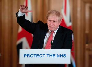 Prime Minister Boris Johnson at yesterday's news briefing on the UK's coronavirus response