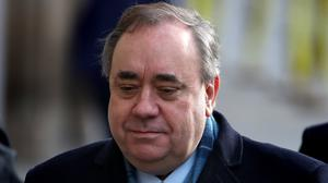 Alex Salmond arrives at court ahead of the jury considering its verdict for the second day (Andrew Milligan/PA)
