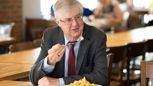 First Minister Mark Drakeford marked the reopening of indoor hospitality at Page's Fish and Chip restaurant in Cwmbran (Matt Horwood/PA)
