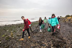 Volunteers collect litter on Kinneil beach during last year's Great British Beach Clean (Marine Conservation Society/PA)