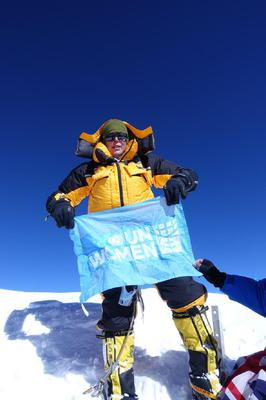 Ms O'Brien atop K2, the second highest mountain in the world (Vanessa O'Brien)