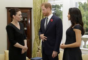The Duke and Duchess of Sussex meet New Zealand Prime Minister Jacinda Ardern, (Katy Wrigglesworth/PA)