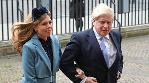 Prime Minister Boris Johnson and partner Carrie Symonds arrive at the Commonwealth Service at Westminster Abbey (Yui Mok/PA)