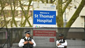 Police officers outside St Thomas' Hospital in Central London, where Prime Minister Boris Johnson was admitted (Dominic Lipinski/PA)