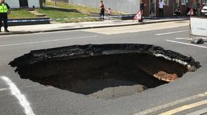 The sinkhole opened up at around 1pm on Thursday (Walsall Council/PA)