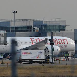 The Ethiopian Airlines Dreamliner remains on the ground at Heathrow Airport following a fire
