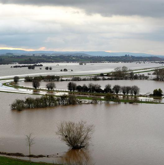 Flooded fields around the River Tone seen from Windmill Hill, Somerset