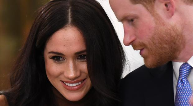 The Duke and Duchess of Sussex during their visit to Canada House (PA)
