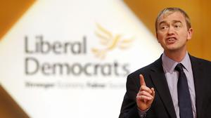 Tim Farron speaks to delegates during day four of Liberal Democrat autumn conference at the Clyde Auditorium in Glasgow, Scotland.