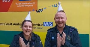 The footage shows various members of the team clapping in appreciation at the support they have received (Worthing Ambulance Station/YouTube/PA)
