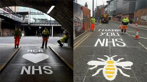Road markings have been painted in Manchester in support of the NHS (Gemma Mcilwaine)