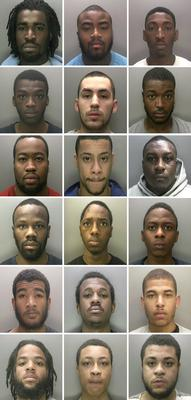 The 18 members of two Birmingham crime gangs who have been banned from associating with each other or participating in music videos that promote gang-related violence (West Midlands Police)