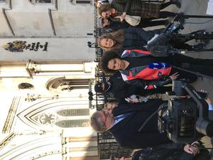 Keira Bell (centre) speaking outside the Royal Courts of Justice in London after a landmark High Court ruling on whether children can consent to puberty blockers.