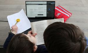 A boy in Dublin reads to his younger brother as his home-schooling timetable suggests noon is Drop Everything And Read time (Brian Lawless/PA)
