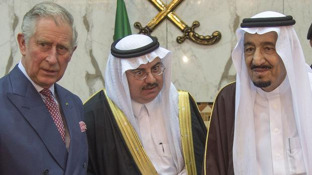 Charles raised the plight of a jailed Saudi blogger with King Salman, right, during his Middle East tour
