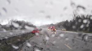 Highways England released a clip of a car crash to urge drivers to take care on icy roads (Highways England/PA)