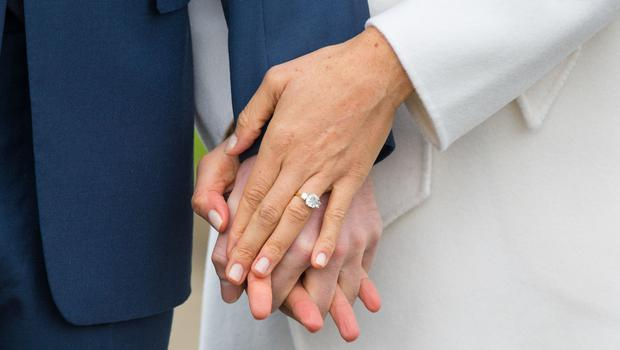 Meghan Markle's engagement ring contains two diamonds from the personal collection of Harry's late mother Diana (Dominic Lipinski/PA)