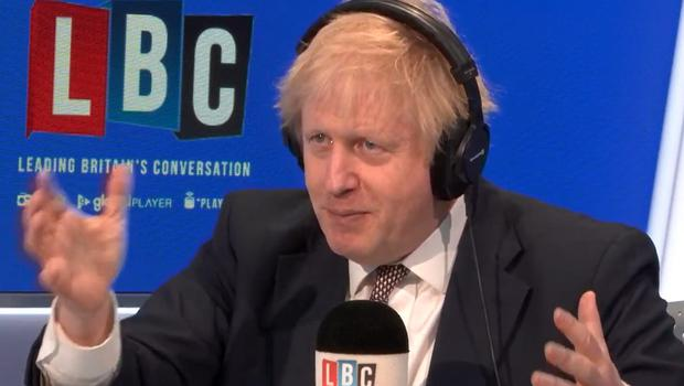 Prime Minister Boris Johnson taking part in a phone-in with Nick Ferrari at LBC in central London, while on the General Election campaign trail (LBC/PA)