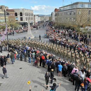 Crowds of up to 15,000 people were expected to attend the Marines' march through Taunton