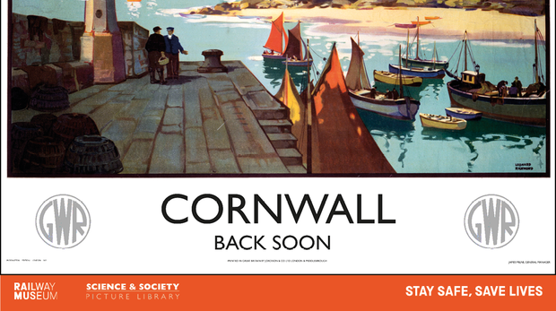 Vintage railway posters have been redesigned to encourage tourists to delay visits to UK holiday destinations (National Railway Museum/Science and Society Picture Library/PA)