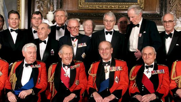 Lord Bramall and Lord Heseltine attend the Army Benevolent Fund 60th Anniversary dinner at The Royal Hospital in Chelsea, alongside the Duke of Edinburgh, former Conservative prime minister John Major, among other political figures (PA Archive)