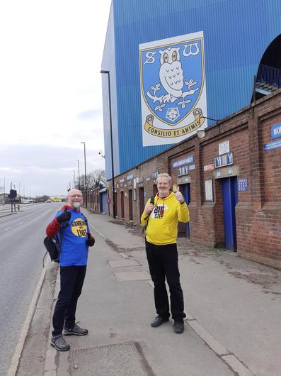 Charles Ritchie (right) and Alistair Dempster, outside Sheffield Wednesday's ground on Saturday(The Big Step)