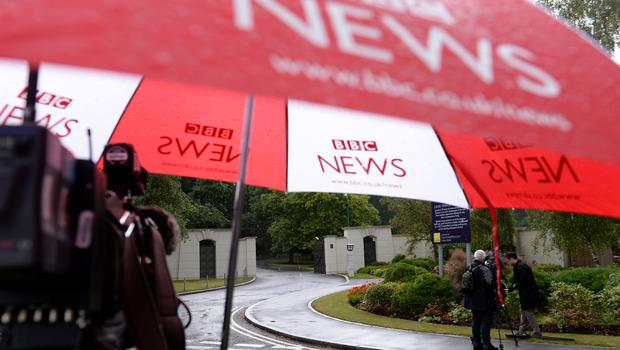 Media outside the Charters Estate in Sunningdale, Berkshire, where police searched an apartment belonging to Sir Cliff Richard (Andrew Matthews/PA)