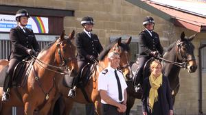 Hero the police horse (centre) (Avon and Somerset Police/PA)
