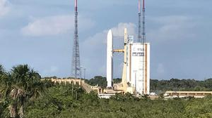 The Ariane 5 rocket carrying BepiColombo waiting on its launch pad at Kourou in French Guiana (John von Radowitz/PA)