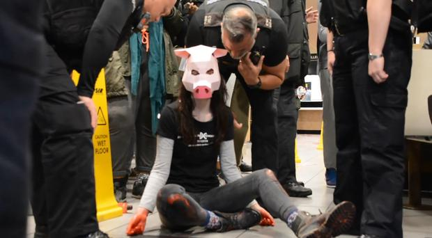 Vegan activist Dylan Roffey wearing a pig mask during the protest in the McDonald's restaurant (DxeBrighton/PA)