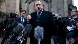 Alex Salmond speaking outside the Court of Session in Edinburgh after it ruled that the Scottish Government acted unlawfully regarding sexual harassment complaints against the former first minister (Jane Barlow/PA)