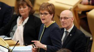 Nicola Sturgeon responded to criticism saying that greenhouse gas emissions from road transport are lower now that they were in 2007 (Jane Barlow/PA)
