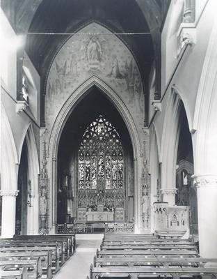 An old photo shows how the sanctuary arch wall used to look (Diocese of Shrewsbury/PA)