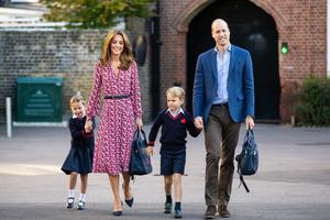 Charlotte arriving for her first day of school at Thomas's Battersea with George and her parents the Duke and Duchess of Cambridge (Aaron Chown/PA)