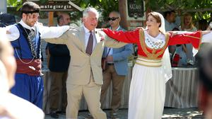 The Prince of Wales joined local dancers while visiting Crete during a tour of Greece in 2018 (PA)